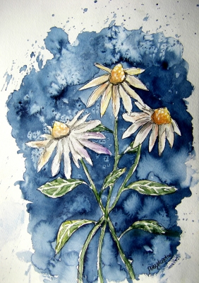 3 Daisies Flower Art Painting Free Flowers ECards