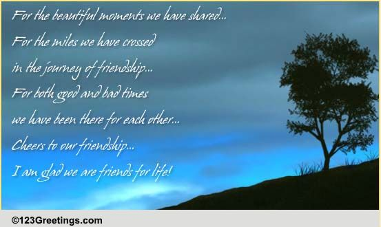 Cheers To Our Friendship! Free Thoughts ECards Greeting