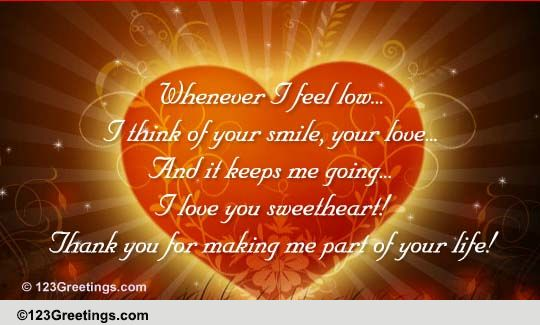Thank You Sweetheart! Free For Your Love ECards Greeting