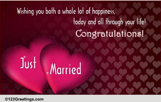 Wishing You Both Free Just Married ECards Greeting Cards 123 Greetings