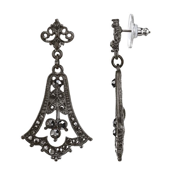 Downton Abbey® Boxed Jet-Tone Hematite Crystal Fleur Drop Earrings