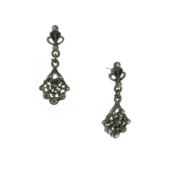 Downton Abbey® Jet-Tone Hematite Crystal Filigree Fan Drop Earrings