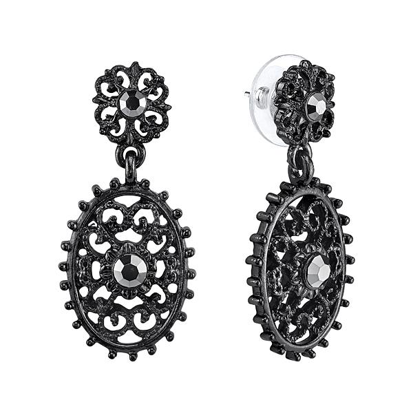 Downton Abbey® Jet-Tone Hematite Crystal Oval Filigree Drop Earrings