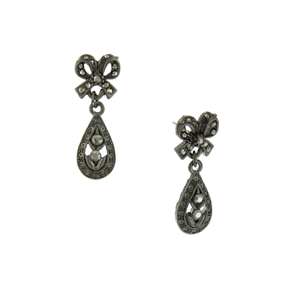 Downton Abbey® Jet-Tone Hematite Crystal Bow Teardrop Earrings