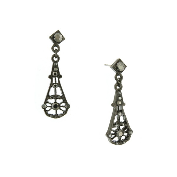 Downton Abbey® Jet-Tone Hematite Crystal Long Fan Drop Earrings