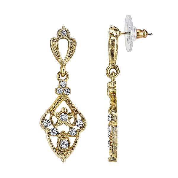 Downton Abbey® Gold-Tone Crystal Filigree Kite-Shaped Drop Earrings