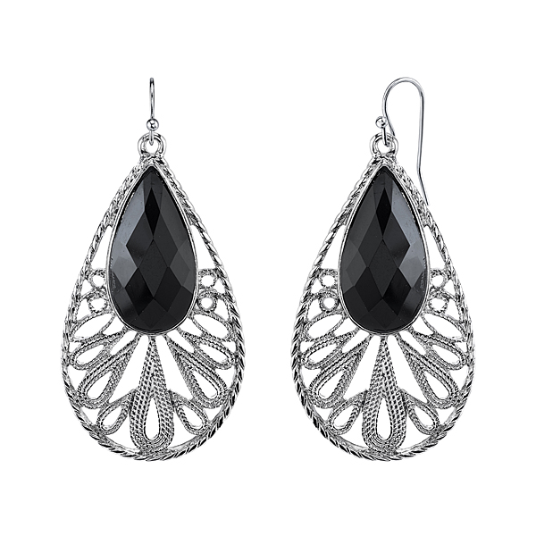 Bohemian Black Jewel Large Teardrop Earrings
