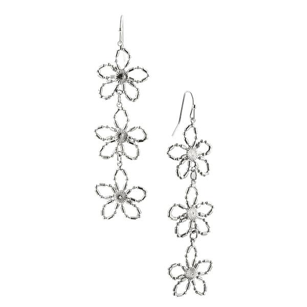Silver-Tone Linear Flower Drop Earrings