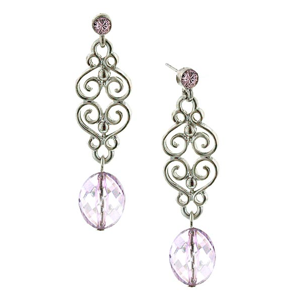 Pink Lilac Charm Filigree Dangle Earrings