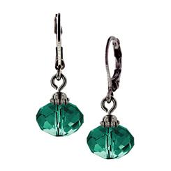 Jet-Tone Green Lux-Cut Bead Drop Earrings