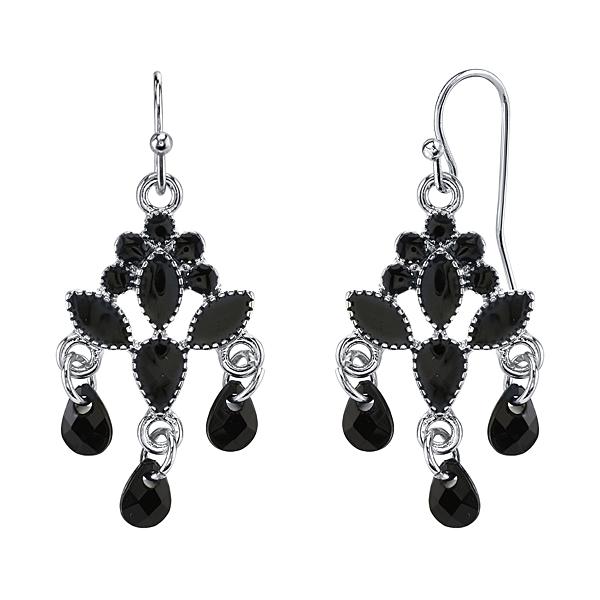 2028 Silver-Tone Black Drop Chandelier Earrings