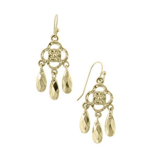 Petite Athena Brass Teardrop Chandelier Earrings