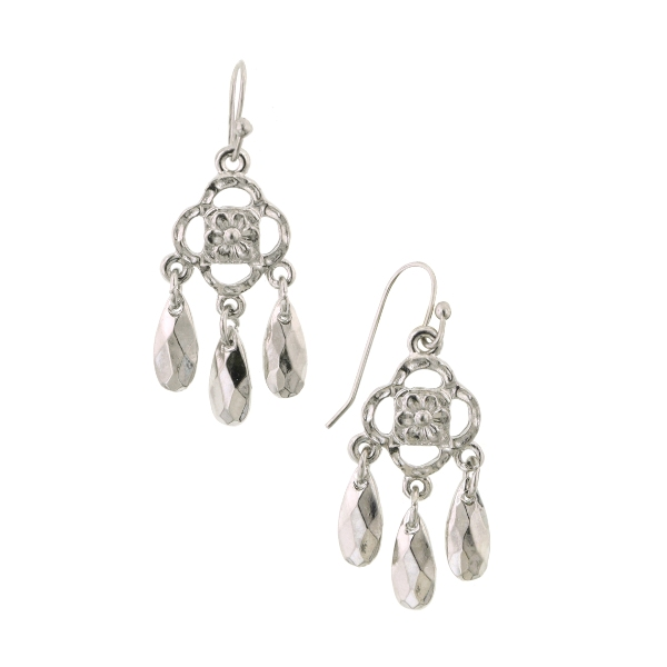 Petite Athena Silver-Tone Teardrop Chandelier Earrings