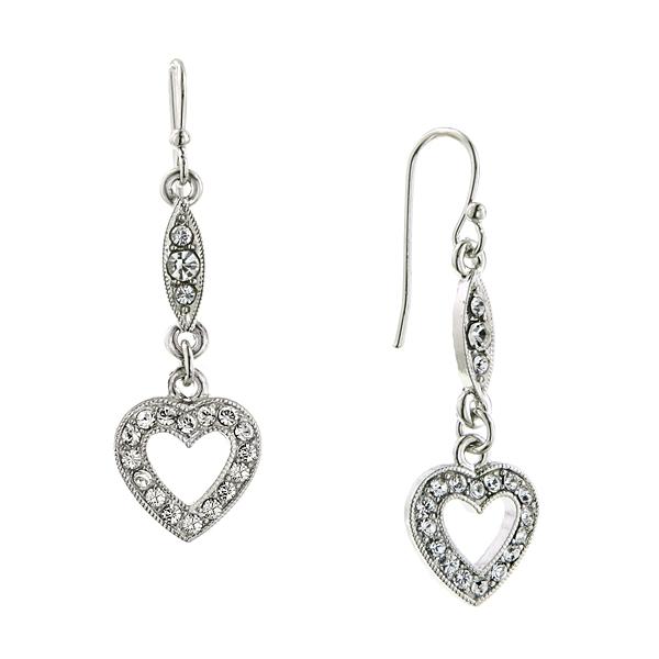 Be Mine Crystal Heart Dangle Earrings