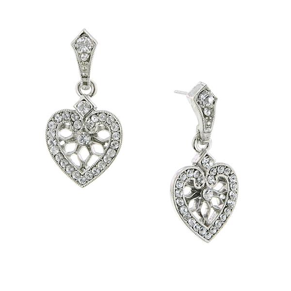 Be Mine Filigree Crystal Heart Earrings
