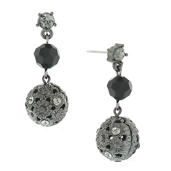 Jet-Tone Filigree Bead Drop Earrings