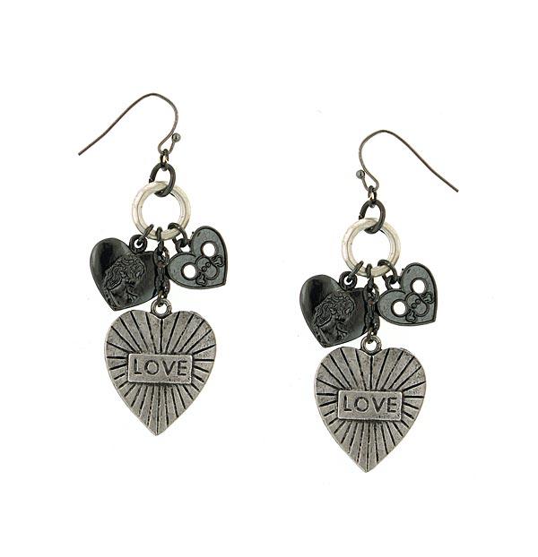 Black Cross and Heart Charm Drop Earrings