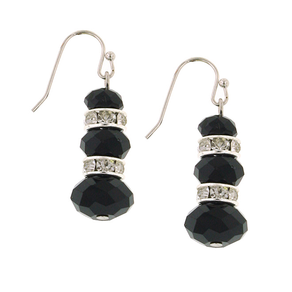 Silver-Tone Black Lux-Cut Bead Triple Drop Earrings