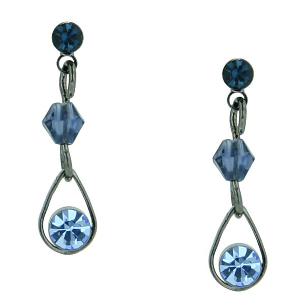 Jet-Tone Blue Teardrop Dangle Earrings