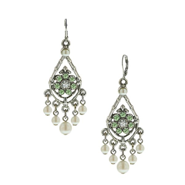 Silver-Tone Peridot Crystal Faux Pearl Chandelier Earrings