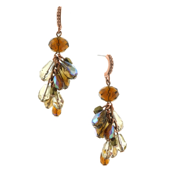 Translucent Brown Amber Medley Beaded Cluster Earrings