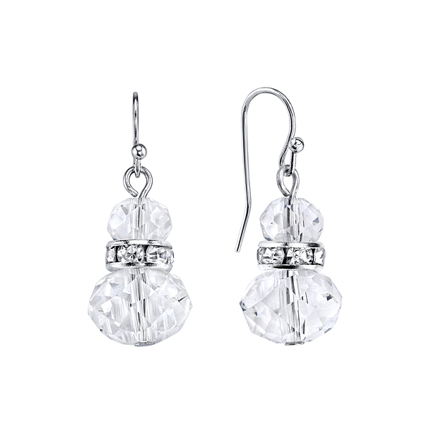 Lux Cut Crystal Beaded Drop Earrings