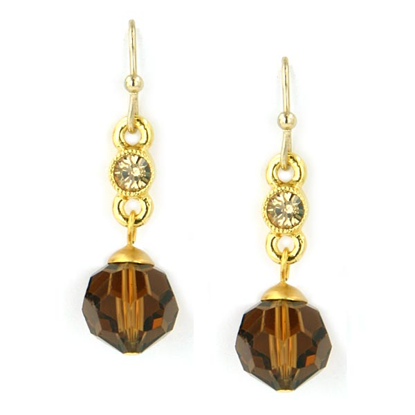 Gold-Tone Brown Bead Drop Earrings