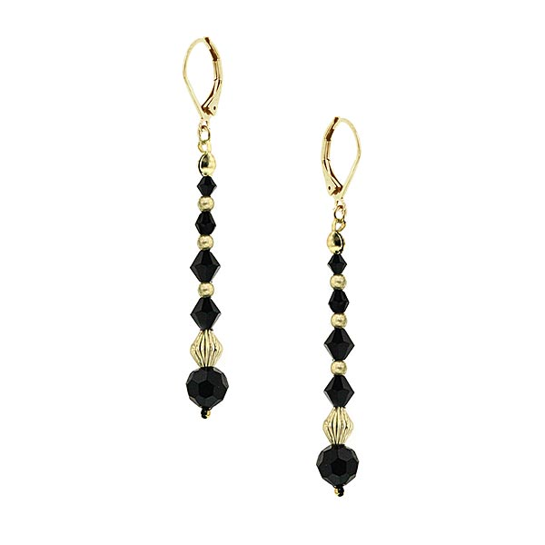 Metropolis Black Beaded Linear Drop Earrings