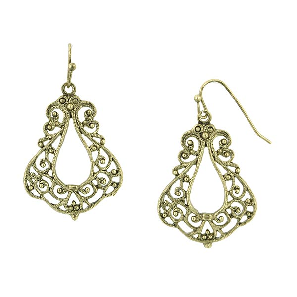 Ana Liosia Brass Filigree Drop Earrings