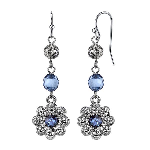 Liliana Navy Blue Crystal Flower Drop Earrings