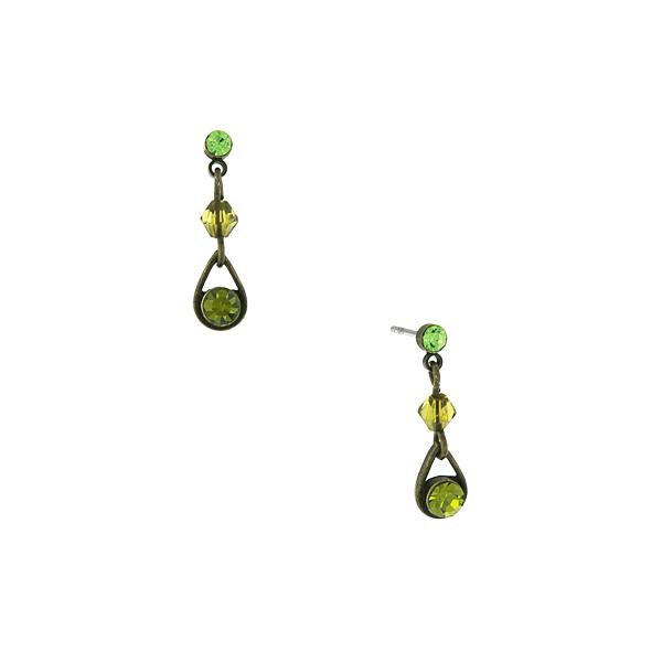 Brass-Tone Green Drop Earrings