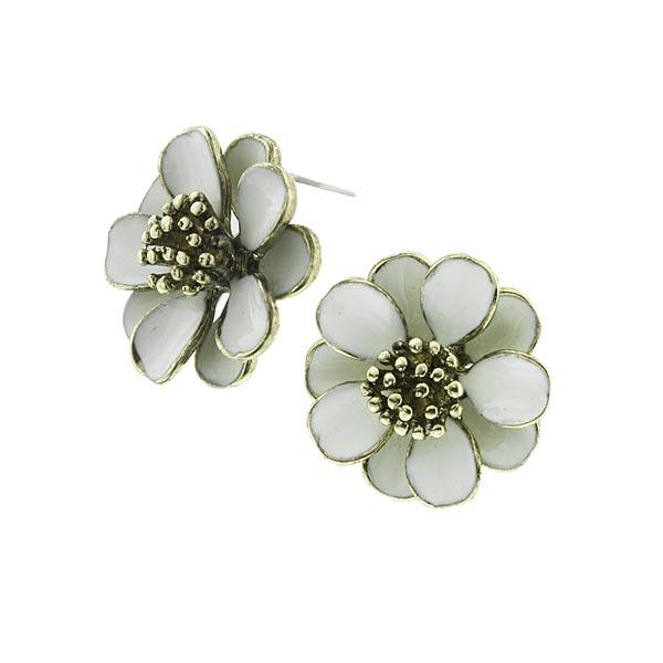 Flower Button White Enamel Earrings