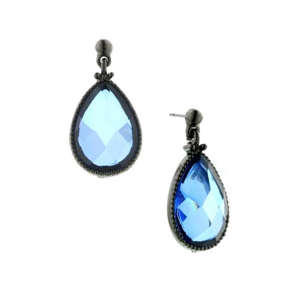 Capri Jet-Tone Blue Teardrop Earrings