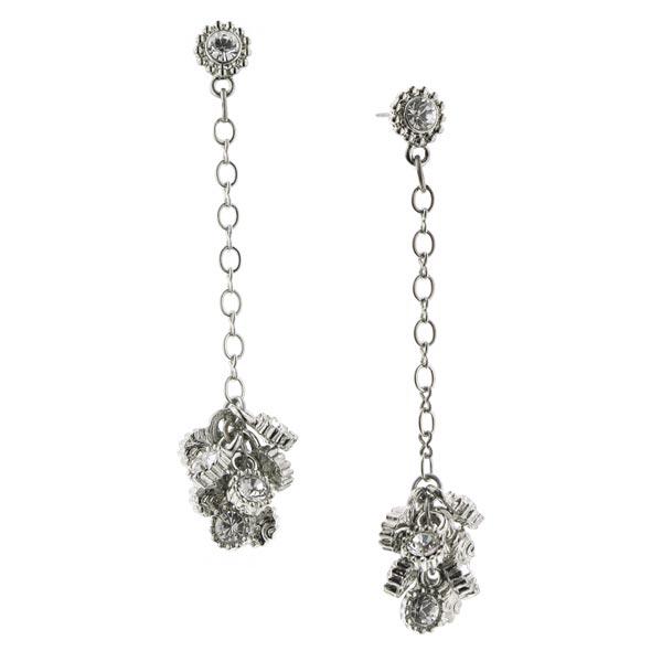 De Luca Silver-Tone Sparkle Cluster Linear Drop Earrings
