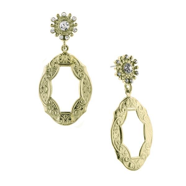 De Luca Golden Frame Antique Drop Earrings