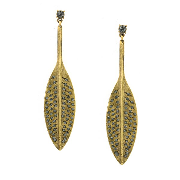 T.R.U. Gold-Dipped Grey Swarovski Crystal Pave Feather Drop Earrings