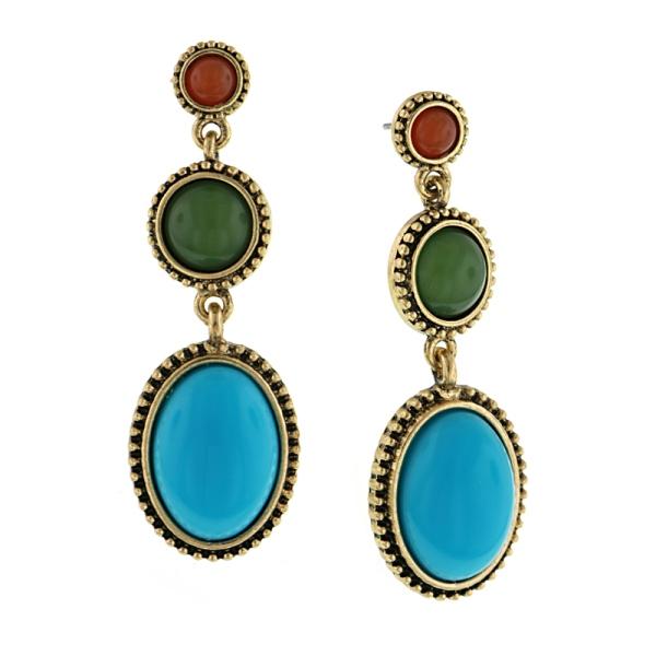 Signature Brass-Tone Multi Color Linear Drop Earrings
