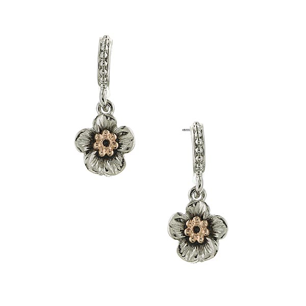 Silver-Tone and Rose Gold-Tone Flower Drop Earrings