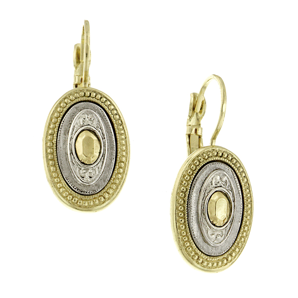 Signature Two-Tone Oval Drop Earrings