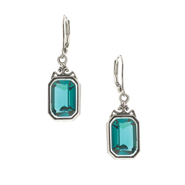 Silver-Tone Blue Octagon Drop Earrings