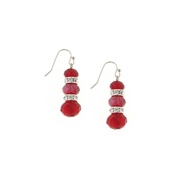 Silver-Tone Red Lux-Cut Bead Triple Drop Earrings