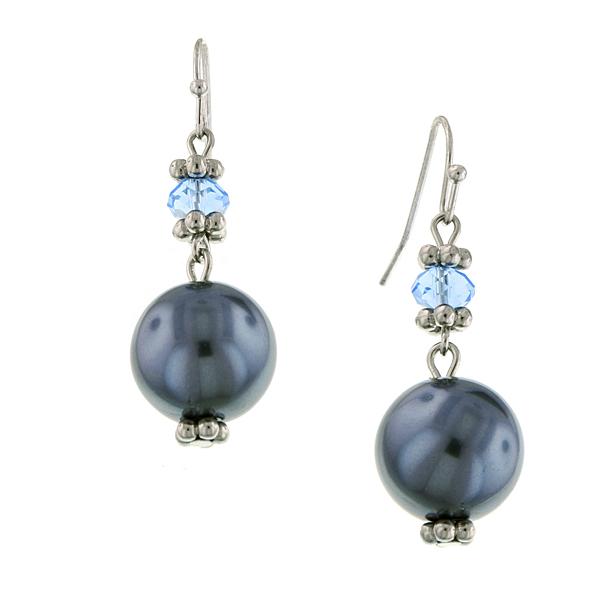 Signature Silver-Tone Grey Faux Pearl Drop Earrings