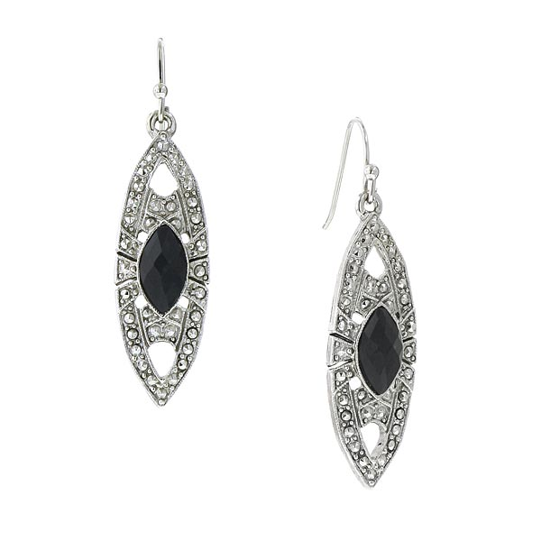Silver-Tone Black Art Deco-Inspired Drop Earrings
