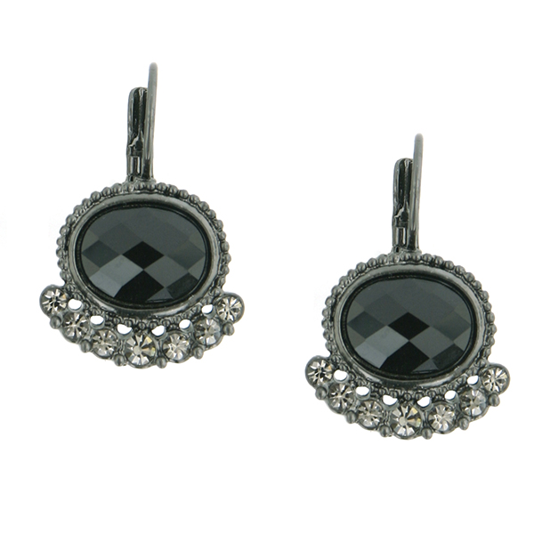 Jet-Tone Black Oval and Crystal Drop Earrings