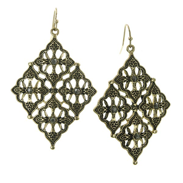 Gold-Tone Diamond-Shaped Filigree Drop Earrings