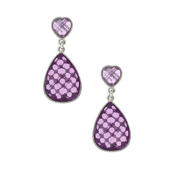 Silver-Tone Light Purple Teardrop Earrings