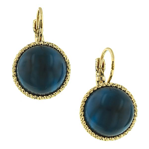 Summer Blue Lucite Button Earrings