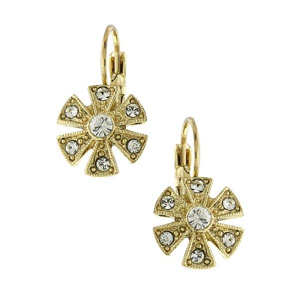 Golden Glitz Gold-Tone Crystal Flower Drop Earrings