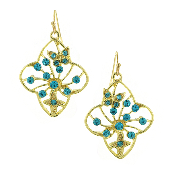 Gold-Tone Aqua Blue Filigree Flower Drop Earrings