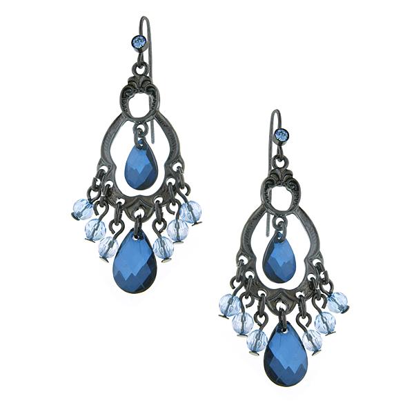 Jet-Tone Blue Briolette Chandelier Earrings